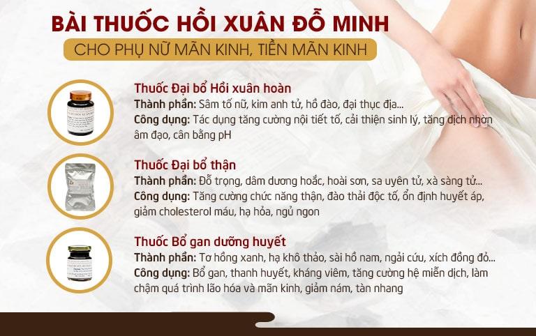 Bài thuốc Hồi xuân Đỗ Minh cho phụ nữ tiền mãn kinh