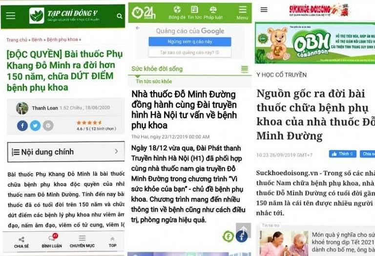 Bài thuốc Phụ Khang Đỗ Minh được truyền thông đưa tin rộng rãi