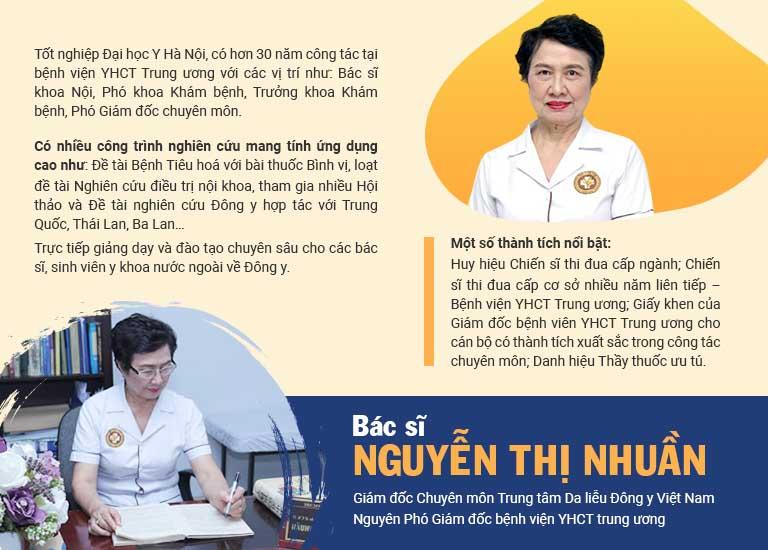 Bác sĩ Nguyễn Thị Nhuần thuộc Trung tâm Da liễu Đông y Việt Nam