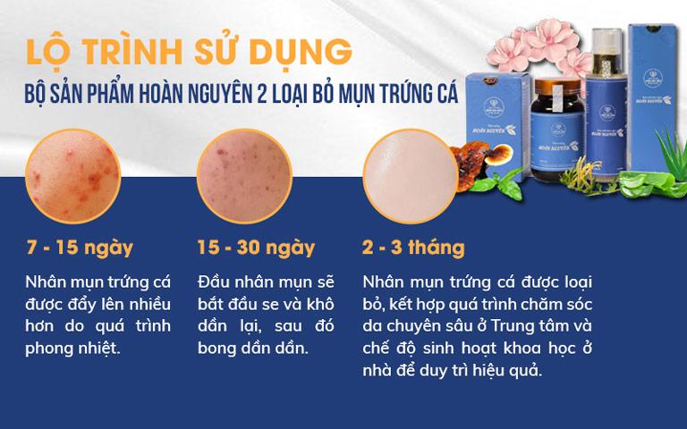 Liệu trình điều trị của Bộ sản phẩm Trị Mụn trứng cá Hoàn Nguyên thế hệ 2