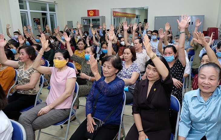 100% cử tri nơi cư trú nhất trí giới thiệu GS.TS Nguyễn Thanh Long, Bộ trưởng Bộ Y tế ứng cử ÐBQH khóa XV Ảnh:Trần Minh