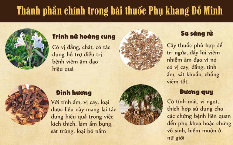 Một số thành phần chính trong bài thuốc Phụ Khang Đỗ Minh
